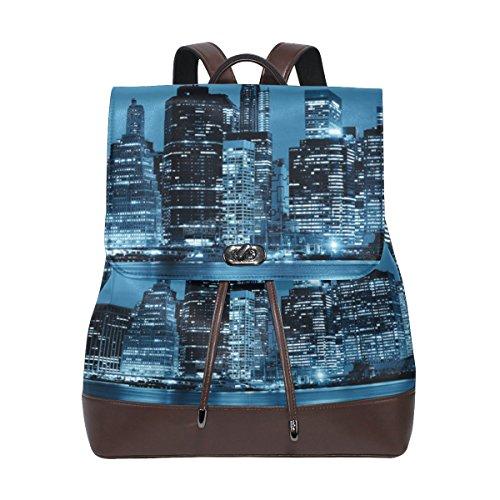 - ALAZA Leather School Backpack Drawstring Manhattan Nightfor Women and Girls Casual Laptop Duffel Bag