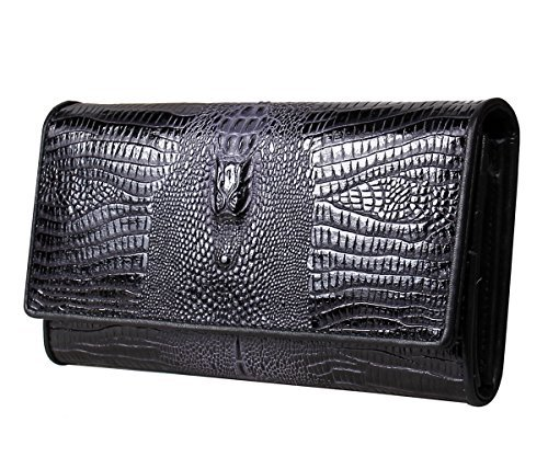 (DARUN's Genuine Leather Crocodile Skin Embossed Women Long Wallet Phone Holder Purse Coin Clutch Organizer (Black))