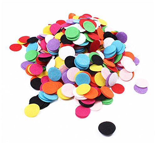 BIHRTC 1000Pcs 1 inch Mixed Color Round Felt Circle Felt Pads for DIY and Sewing Handcraft (Felt Circles)
