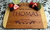 Personalized Cutting Board for Wedding Gifts - Wood Cutting Boards, Also Bridal Shower and Housewarming Gifts (8.5 x 11 Two Tone Bamboo Rectangular, Thomas Design)