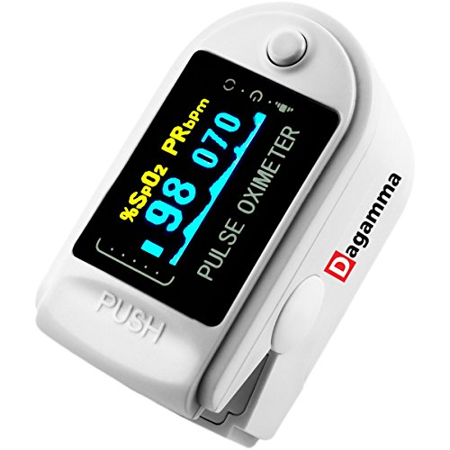 Dagamma DP150 Pulse Oximeter with Carrying Case, Batteries, Neck/Wrist Cord & One-Year Warranty Advanced LCD Screen (White Pearl) by Dagamma