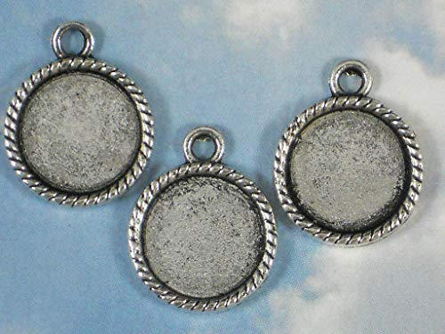 (Pendant Jewelry Making 10 Rope Bezels Charms Mounting Trays Glue in 14mm Antique Silver Settings)