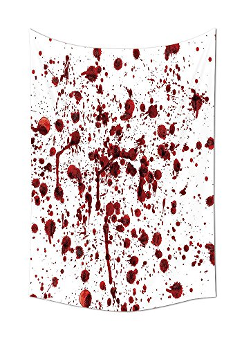 Bloody Wall Tapestry Splashes of Blood Grunge Style Bloodstain Horror Scary Zombie Halloween Themed Print Bedroom Living Room Dorm Decor Red (Bloody Mary Halloween Mirror)