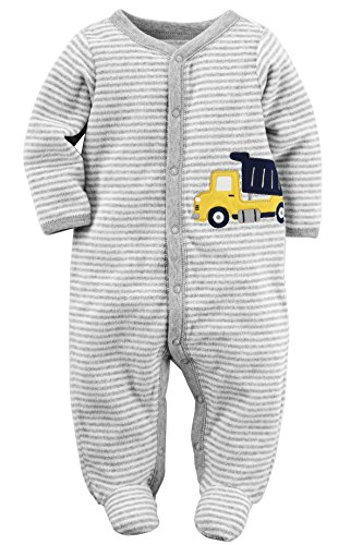 Carter's Baby Boys' Striped Terry Cloth Sleep and Play (6 Months, Striped Dumptruck) (Boys Terry Cloth)