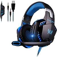 Kotion Each G2000 Gaming Headset Profesional - Audífonos Gamer PC,con Micrófono de Cancelación de Ruido, Sonido High Definition Estéreo 360°, Luz LED, Conector 3.5 mm de 2 Canales (Negro con Azul)