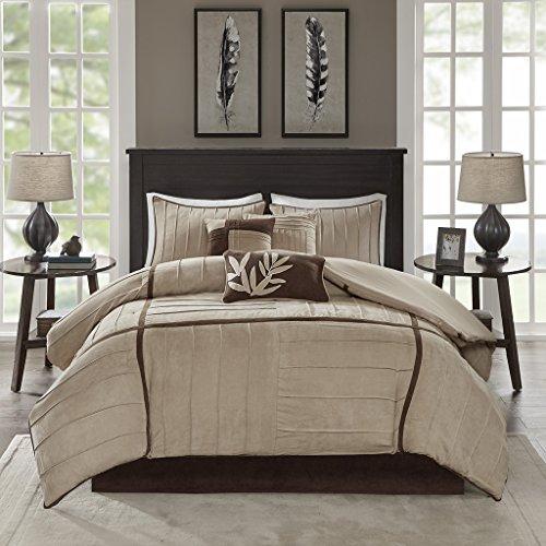 Madison Park Dune 7 Piece Comforter Set Beige Queen ()