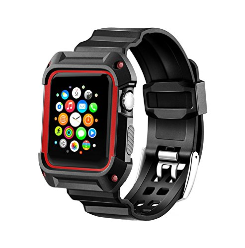 Compatible Apple Watch Band with Case 42mm, MAIRUI Rugged Protective G Shock Replacement Wristband for Apple Watch Series 2/1, iWatch Nike+/Sport/Edition (Black&Red)