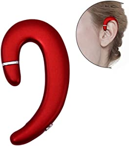 Ear Hook Bluetooth Wireless Headphones,Non Ear Plug Headset with Microphone,Single Ear Noise Cancelling Earphones Painless Wearing with Earbuds Case for Android Smartphones,iPhone X 8 7 6 (Red)