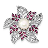 925 Sterling Silver White Cultured Pearl and Cubic Zirconia Pink Corundum Pin for Women