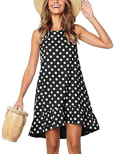 Lannychic Women's Sleeveless Tunic Dress Polka Dots Ruffle Loose Mini Dress Swing Shift Dresses - Black L