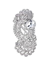 Ever Faith Women's Rhinestone Crystal Graceful S Shape Bridal Flower Brooch Clear Silver-Tone
