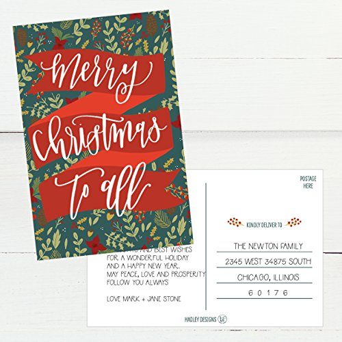 50 Holiday Greeting Cards, Cute Fancy Blank Winter Christmas Postcard Set, Bulk Pack of Premium Seasons Greetings Note, Mistletoe Happy New Years for Kids, Business Office or Church Thank You Notes Photo #2