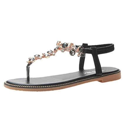 b4f2b41fa Image Unavailable. Image not available for. Color  CCOOfhhc Women Thong  Sandals T-Type Open Toe Rhinestone Flat Bottom Slippers ...