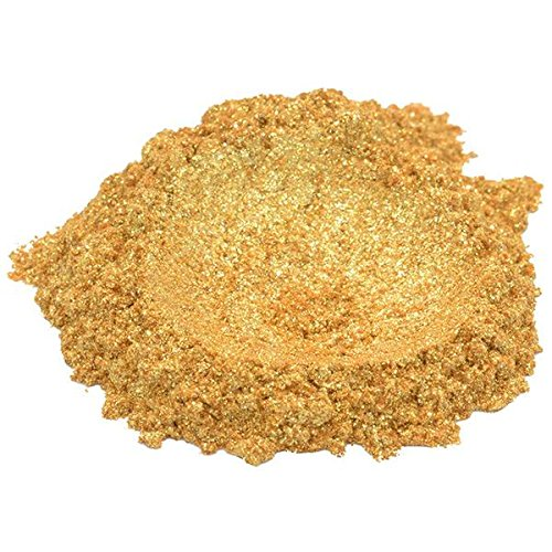 24 Karat Gold / Yellow Luxury Mica Colorant Pigment Powder by H&B OILS CENTER Cosmetic Grade Glitter Eyeshadow Effects for Soap Candle Nail Polish 1 oz ()