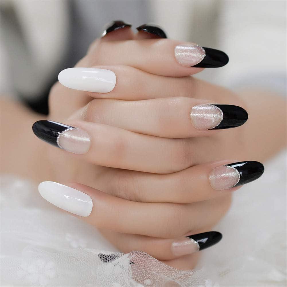 JZJO Artificial Nails Black Fake Nails Clear Off White Nail Tips ...