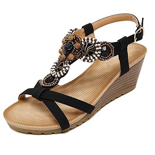 COOLCEPT Mujer Moda Correa en T Sandalias Punta Abierta Tacon de Cuna Slingback Zapatos Negro