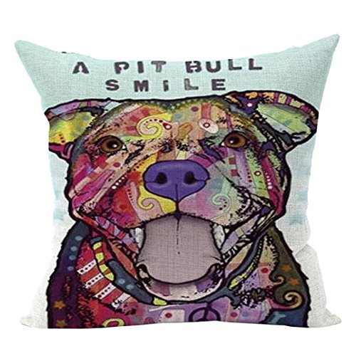 Sunward 2017 Dog Style Cotton Linen Canvas Decorative Square Throw Pillow Cover 18 x 18 (H)