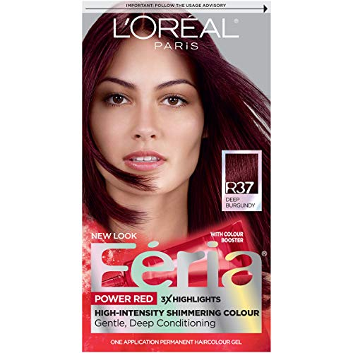 L'Oréal Paris Feria Multi-Faceted Shimmering Permanent Hair Color, R37 Blowout Burgundy (Deep Burgundy), 1 kit Hair Dye (Best Highlights For Natural Red Hair)