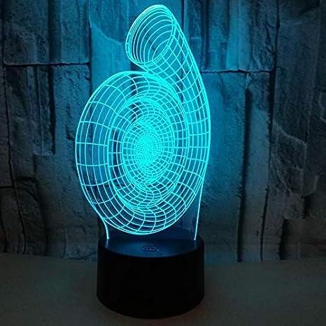 3D Ilusión óptica Lámpara LED Luz Espiral de noche Deco LED ...