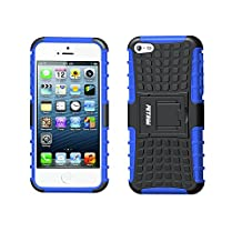 Case for iPhone 5S ,Fetrim Rugged Dual Layer Shockproof TPU Case Protective Cover for Apple iPhone 5 5S SE with Built-in Kickstand (Blue)