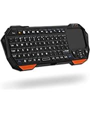 Fosmon Portable Lightweight Mini Wireless Bluetooth Keyboard Controller (QWERTY keypad) w/Built-in Touchpad for Apple/Android/Windows Smartphones, Tablets, PS4, Laptop, Notebook - Black & Orange