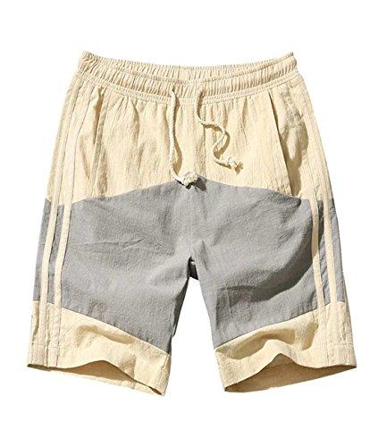 ZGHUA Men's Summer Stitching Casual Shorts (Khaki 34)