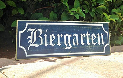 BIERGARTEN (Choose Color) Rustic Shabby Chic Sign Wall Welcome German Hanger Willkommen Oktoberfest Home Garden Custom Accent