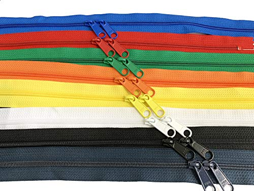 Zipperstop Wholesale - Double Slide Zipper YKK #4.5 Coil with Two Long Pull Head to Head Closed Ended on Both Sides Made in USA (40 Inch, Mixed 8 Colors)