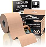 Kinesiology Tape (2 Pack or 1 Pack) Physix Gear Sport, 5cm x 5m Roll Uncut, Best Waterproof Muscle Support Adhesive, Physio Therapeutic Aid, Free 82pg E-Guide - BEIGE 1 PACK
