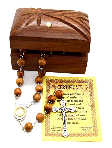 - Holy Land Bethlehem Olive Wood Rosary Beads with Holy Water from The Jordan River Madonna Child Wooden Hand Carved Jewelry Box