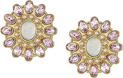 Pink Betsey Johnson Crystal - Betsey Johnson Women's Blue by Betsey Johnson Pink and Gold Tone Flower Clip-On Earrings Crystal One Size