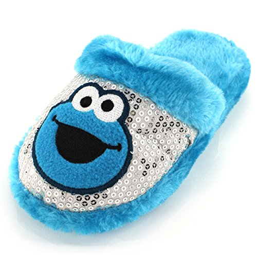 Cookie Monster Girls Blue Scuff Slippers (11/12 M