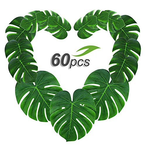 Gooidea 60pcs Tropical Palm Leaves丨Artificial Monstera Leaves丨Tropical Leaf Placemats丨Hawaiian Luau Party Wedding Decorations丨Table Centerpieces Wall -