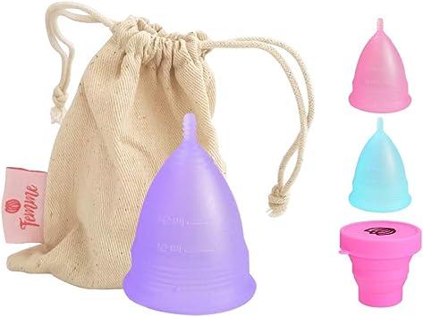 Femme Essentials Copa Menstrual + Bolsa de Algodón | 100% de Silicona Hipoalergénica para Uso Médico | Ecológica, Segura, Cómoda y Higiénica | Tamaño: ...