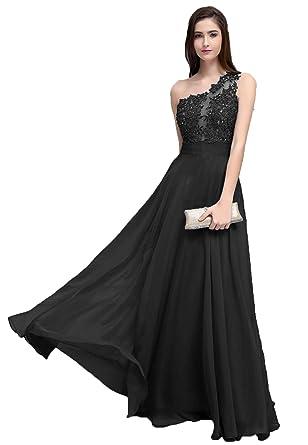 e83f556aff2 HEAR Women's One Shoulder Appliques Prom Dresses Sexy One Shoulder Chiffon Evening  Gown Hear333 Black 0
