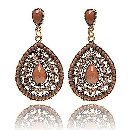 Date Heart Earrings - Womens Earrings,Bohemian Resin Drop Earring Pear-Shaped Beaded Heart Earrings Earbob Axchongery (Coffee, 5.3cmX2.9cm)