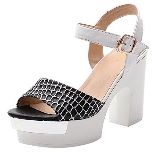 T&Mates Women's New Platform Leather Fashion Summer Heels Pumps(5.5 B(W) US, black)