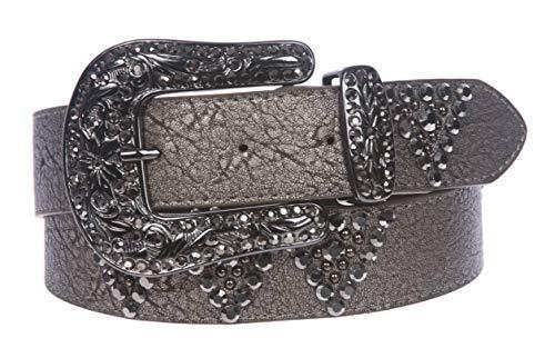 Western Cowgirl Rhinestone Studded Leather Belt, Pewter | M/L - 38