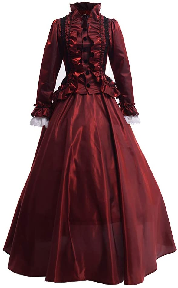 Old Fashioned Dresses | Old Dress Styles GRACEART Womens Medieval Victorian Fancy Dresses with Crinoline Palace Royal Masquerade Vintage Costume (XXL Red) £53.90 AT vintagedancer.com