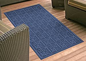 Soft Impressions Star Quilt Low-Profile Mat, 3 by 5-Feet, Navy