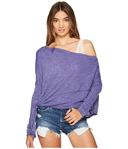 We The Free Womens Side-Tie Long Sleeves Sweater Blue L (Free People Wool Sweater)
