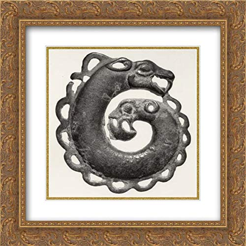 (North China Culture - 20x20 Gold Ornate Frame and Double Matted Museum Art Print - Plaque in The Shape of a Coiled, Two-Headed Animal)