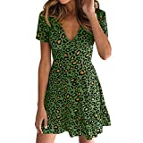 NRUTUP Dresses for Women Party Night Sexy Leopard Print Wrap Dress Mini Dress Clubwear Party Hot(Green,M)