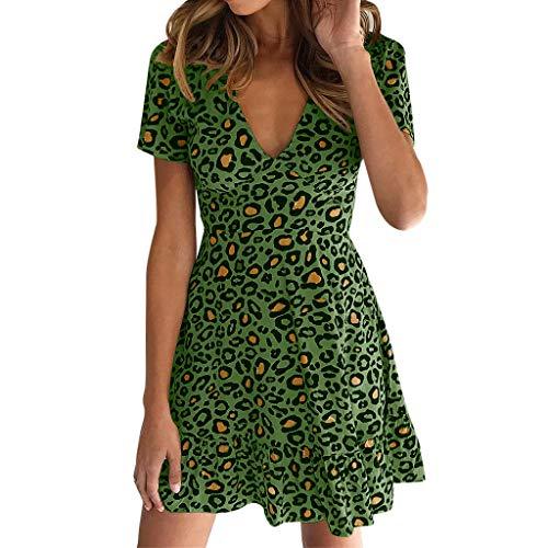 Aniywn Womens Leopard Print Mini Dress Sexy Short Sleeve Wrap Party Dress Ruffles Short Dresses Green