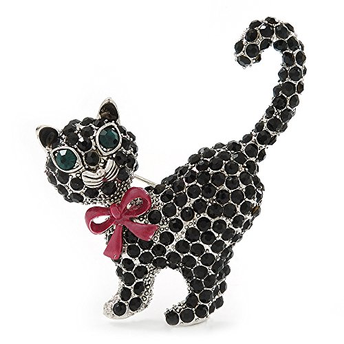 Avalaya Jet Black Swarovski Crystal 'Cat With Pink Bow' Brooch In Rhodium Plating - 45mm Width