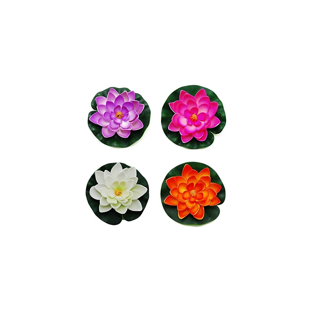 GOEGE Artificial Floating Foam Lotus Flower Pond Decor Water Lily with Stylus Set of 4 (Large(3.5″ 11″ inch))