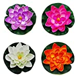 GOEGE-Artificial-Floating-Foam-Lotus-Flower-Pond-Decor-Water-Lily-with-Stylus-Set-of-4-Large35-11-inch