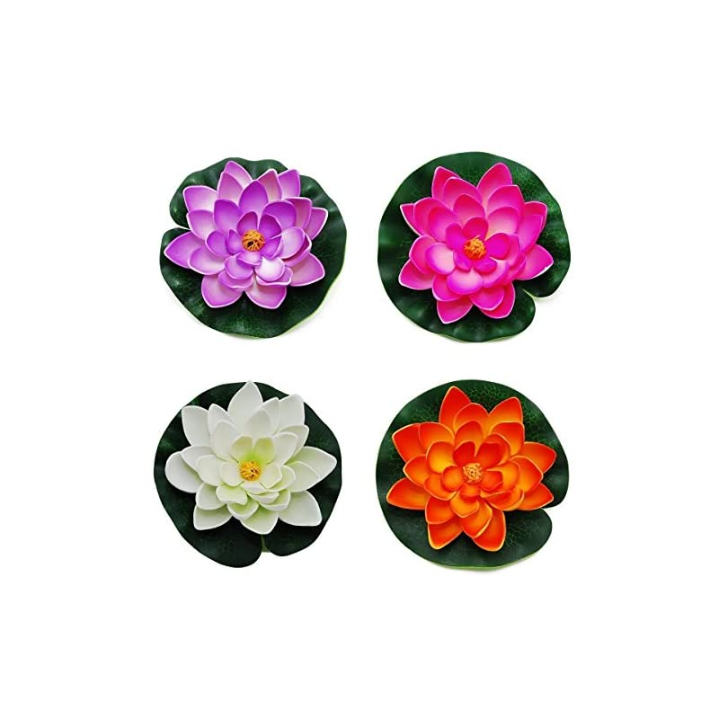 """silk flower arrangements goege artificial floating foam lotus flower pond decor water lily with stylus set of 4 (large(3.5"""" 11"""" inch))"""