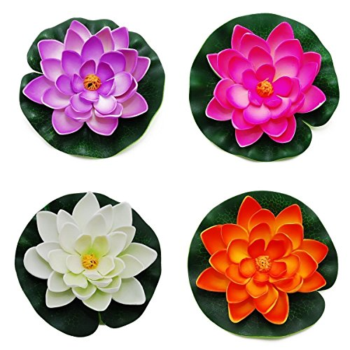 Goege Artificial Floating Foam Lotus Flower Pond Decor Water Lily with Stylus Set of 4 (Large(3.5'' * 11''inch)) by Goege