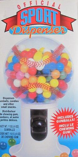 Official SPORT Dispenser: BASEBALL Shape CANDY & GUMBALL MACHINE DISPENSER w Included GUMBALLS